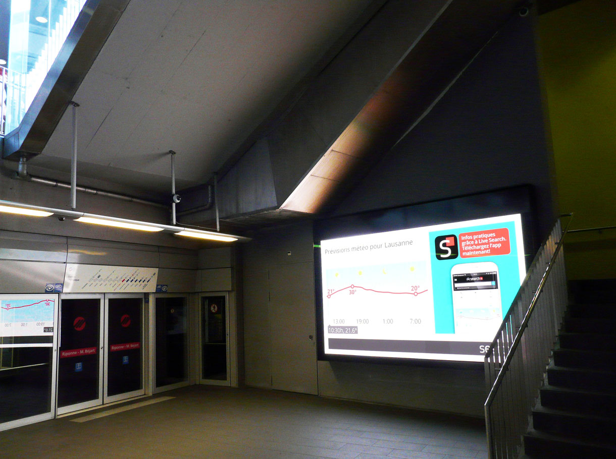Referenzbild APG, LED eBoards Métro m2 Lausanne