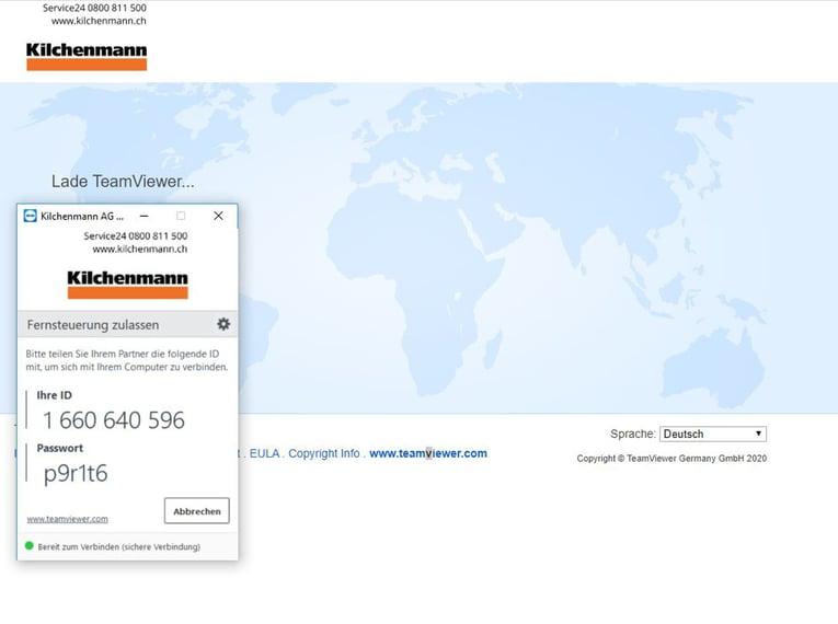 Weboberfläche des TeamViewers mit einer Weltkarte