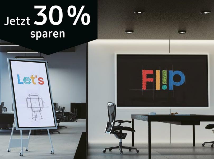 Offenes Büro mit einem Display und einem Samsung Flip 2 auf Ständer